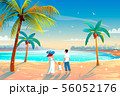 Back view of a happy family on tropical beach summer vacation Father, mother and child against blue 56052176