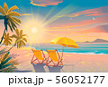 Palm and tropical beach. Chairs on the sandy beach near the sea. Summer holiday, vacation and travel 56052177