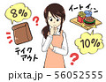増税のイラスト素材 主婦 困る イートイン テイクアウト 56052555
