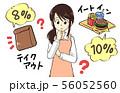 増税のイラスト素材 主婦 困る イートイン テイクアウト 56052560