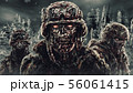 Evil zombie soldiers against the background of 56061415