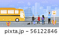 Passengers Waiting for Bus on Stop Flat Vector 56122846