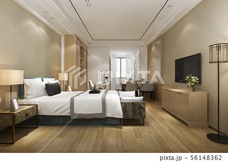 modern bedroom suite in hotel with dining table 56148362