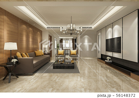 modern yellow sofa in living room with dining zone 56148372