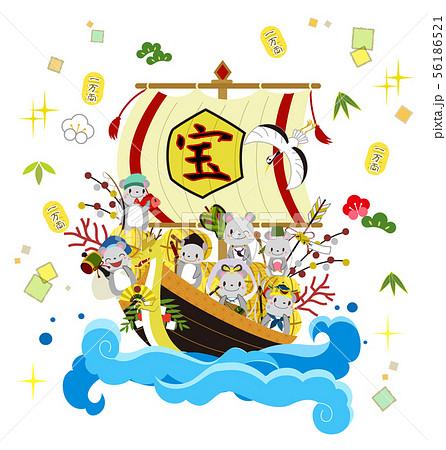 宝船と七福神 56186521