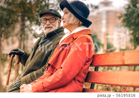 Senior man looking lovingly at his wife sitting on bench in park 56195816