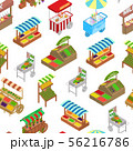 Vendor Food Street Signs 3d Seamless Pattern Background Isometric View. Vector 56216786