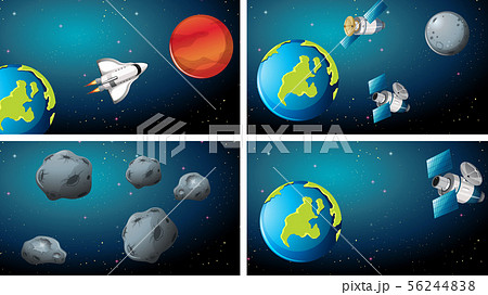 Set of different space scenes 56244838