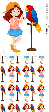 Seamless background design with girl and parrot 56244839