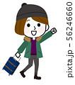 旅行に行く女の子05 冬服 女子旅 イラスト 56246660