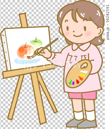 A girl drawing a picture 56282591