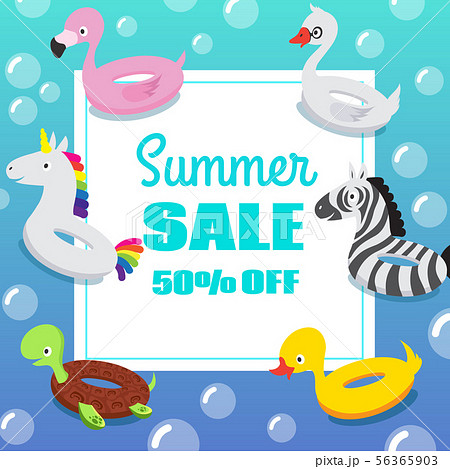 Kids swimming pool party invitation poster with inflatable animal rubber swim float rings 56365903