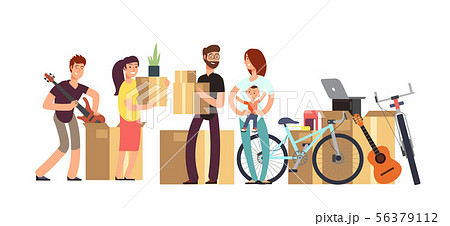 Couple and kids holding cardboard box with household stuff. Moving day vector concept 56379112