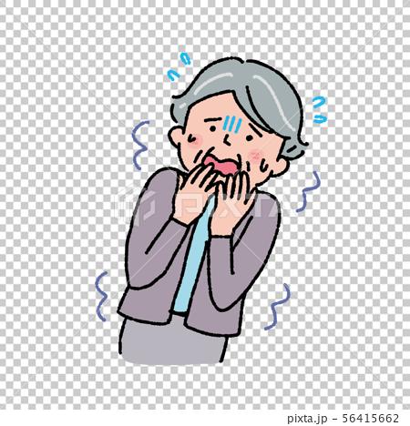 Frightened senior woman dementia symptom illustration 56415662