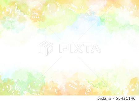 音符と秋のイメージ背景(水彩タッチ) 56421146