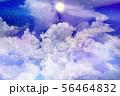 星空に浮かぶ雲と満月 56464832