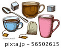 Vector set of hand drawn colored teaspoon, tea bag, sugar cubes, tea cup 56502615
