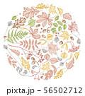 Round design with pastel rowan, rowan, acorn, buckeye, fern, maple, birch, maple leaves, lagurus 56502712