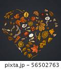 Heart design on dark background with rowan, rowan, acorn, buckeye, fern, maple, birch, maple leaves 56502763