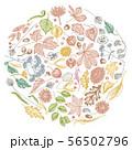 Round design with pastel rowan, rowan, acorn, buckeye, fern, maple, birch, maple leaves, lagurus 56502796