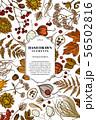 Card design with colored rowan, rowan, acorn, buckeye, fern, maple, birch, maple leaves, lagurus 56502816