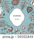 Badge over design with rowan, rowan, acorn, buckeye, fern, maple, birch, maple leaves, lagurus 56502849