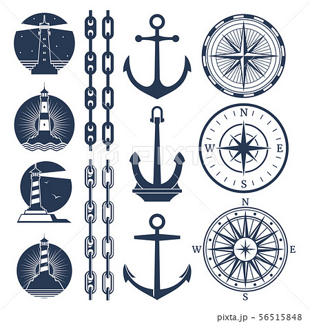 Nautical logos and elements set - compass lighthouses anchor chains 56515848