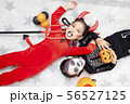Asian child girls in halloween costumes 56527125