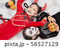 Asian child girls in halloween costumes 56527129