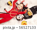 Asian child girls in halloween costumes 56527133