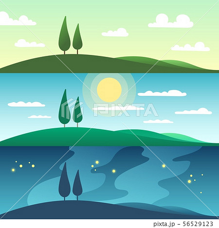 Beautiful summer landscape in different times of day. Cartoon vector illustration 56529123