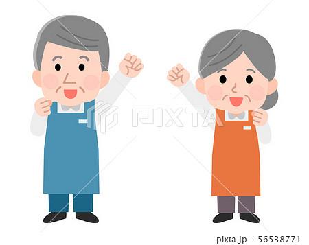 職業 エプロンの職員 シニア 男女 線なし イラスト 56538771