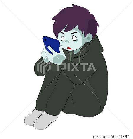 ゲームに夢中な少年 (線あり ゲーム依存 スマホ依存 ゾンビ 廃人) 56574394