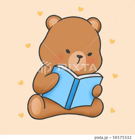 Cute bear reading a book cartoon hand drawn style 56575332