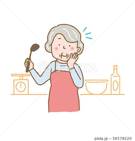 料理をするシニア 女性 イラスト 56578220