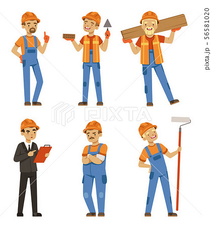 Mascot design of builders in different action poses. Industrial workers in specific uniform. Vector 56581020