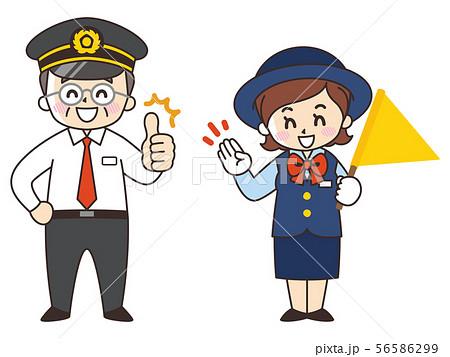 運転手の中年男性とバスガイドの女性 56586299