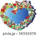 クリスマスリースの可愛い天使のフレーム 56592976