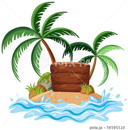 Nature landscape of island with wooden sign 56595510