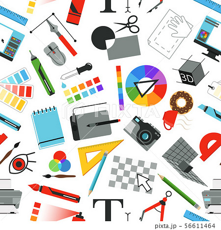 Seamless pattern with different work tools for designers and artists 56611464