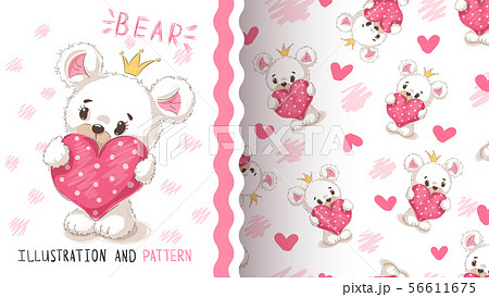 Bear with heart - seamless pattern. 56611675