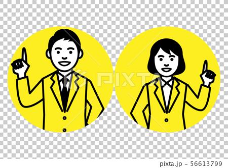 정장 차림의 남성과 여성 상반신 원형 프레임 56613799