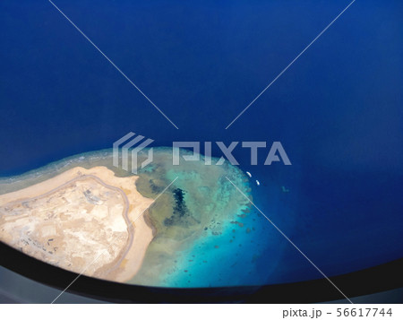 Aerial view on Egypt coastline from airplane. 56617744