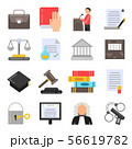 Symbols of legal regulations. Juridical icons set in flat style 56619782