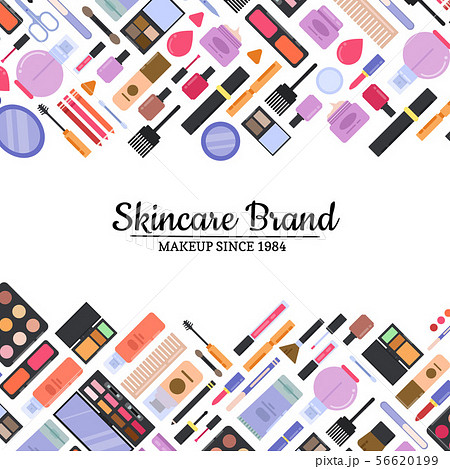 Vector flat style makeup and skincare background 56620199