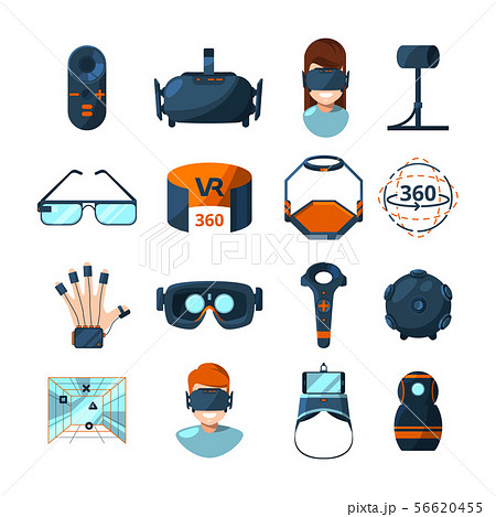 Different symbols of virtual reality. Electronic and computer technology of future. Vector icons set 56620455
