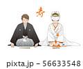 正座でお辞儀をする夫婦 - 和装結婚式イメージ(紋付羽織袴・白無垢) 56633548