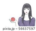 林檎を持つ女性 水彩素材 56637597