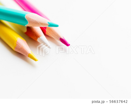 Colorful watercolor pencils on white background. 56637642
