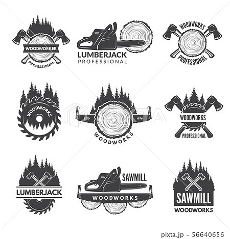 Badges set for wood working industry 56640656